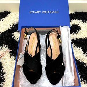 MWT Sz35 Stuart Weitzman Jerry Black Suede Sandals